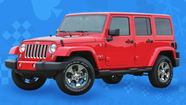 Picture of a red Jeep Wrangler JX.